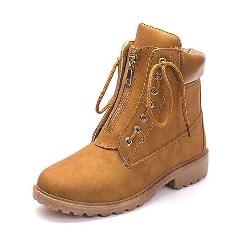 Botas de Mujer Cuero Impermeables Botines Invierno Moda Zapatos Nieve Piel Forradas Calientes Planas Martin Boots para Mujer: Amazon.es: Zapatos y ...