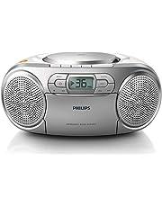 Philips AZ127/12 CD Soundmachine (Dynamic Bass Boost, Sintonizzatore FM, Vano Cassette, Entrata Audio), Argento