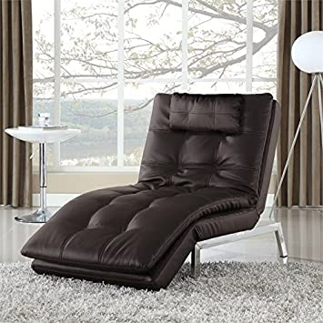 Lifestyle Solutions Serta Alexa Leather Chaise Lounge in Java
