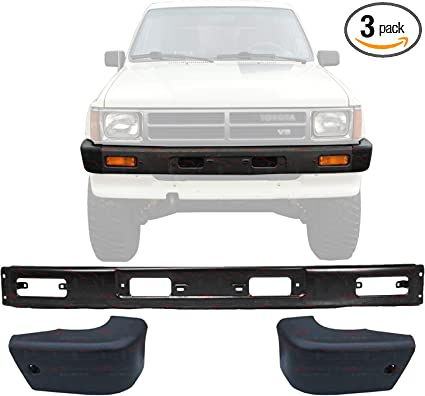 DAT AUTO PARTS Bumper END Set of Two Replacement for 84-89 Toyota 4RUNNER 84-88 Toyota Pickup 4WD Black Front Left Driver and Right Passenger Side Pair TO1004157 TO1005116