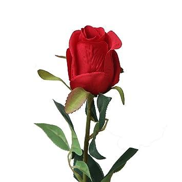 SamMoSon 2019 Flores Artificiales Decoración Rosas Plásticas De Seda Nupcial De La Boda,Artificial Rosa Falsa Flor Nupcial Ramo Boda Fiesta Rosas Largas ...