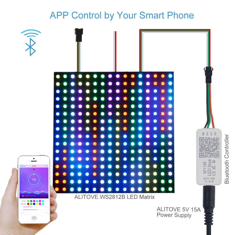 Alitove Ws2812b Ws2811 Addressable Led Bluetooth Array Driver Circuit Controller Ios Android App Wireless Remote Control Dc 5v12v For Sk6812 Rgbw Ws2812