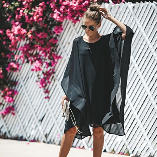Clearance! Mini Dress,Showking Women's Batwing Sleeve Solid Chiffon Cloak Cape Dress (XL) by Showking_women Dress (Image #2)