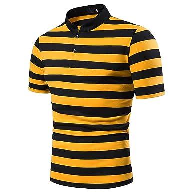 Camisa Polo De Manga Corta para Hombre Camiseta Slim Fit A Rayas ...
