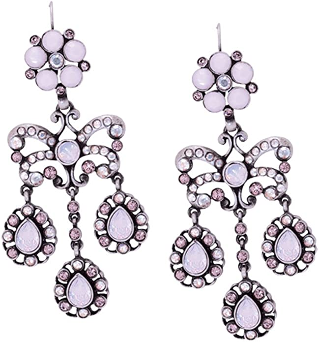 V/&A Silver-Plated Swarovski Crystals Pink Garland Triple Droplet Earrings