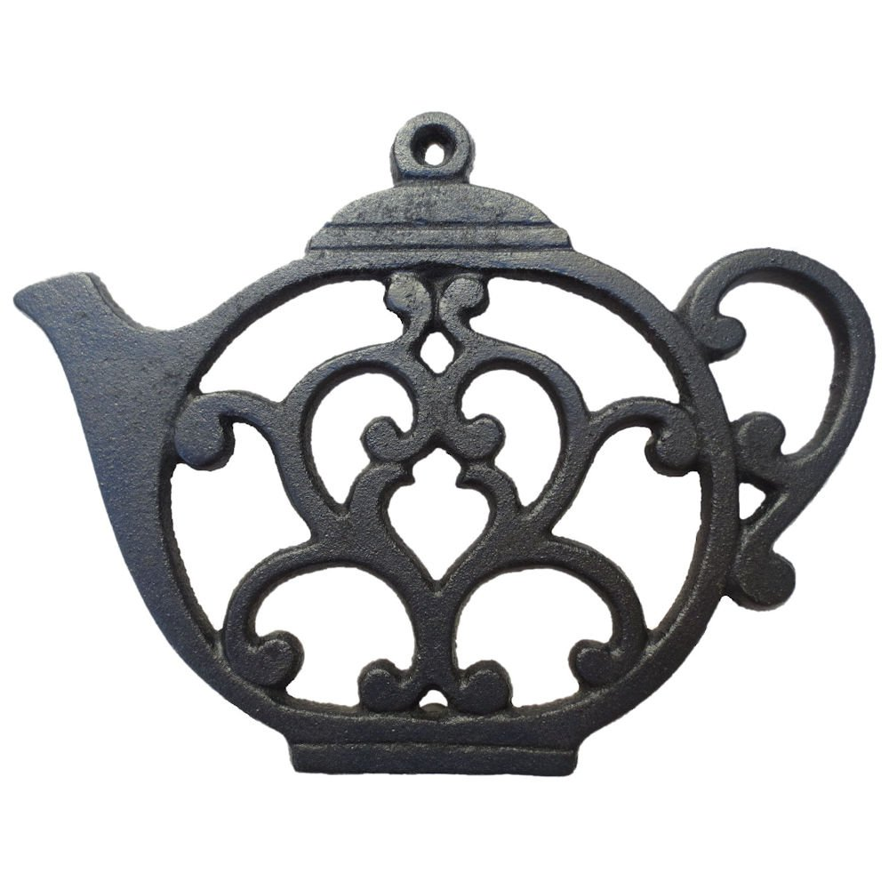 Teapot Trivet - Black Cast Iron - for Kitchen & Dining Table - More than One Makes a Set for Counter, Wall Art or Decoration Accessory - Gift for Tea Lovers & Housewarming Gifts - 8 by 6.1 In Qtinuous TVT-1