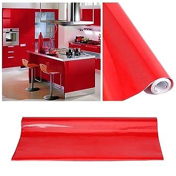 KINLO Selbstklebende Folie Küche Rot 2 Stk. 61x500cm Aus Hochwertigem PVC  Aufkleber Küchenschränke Küchenfolie Klebefolie