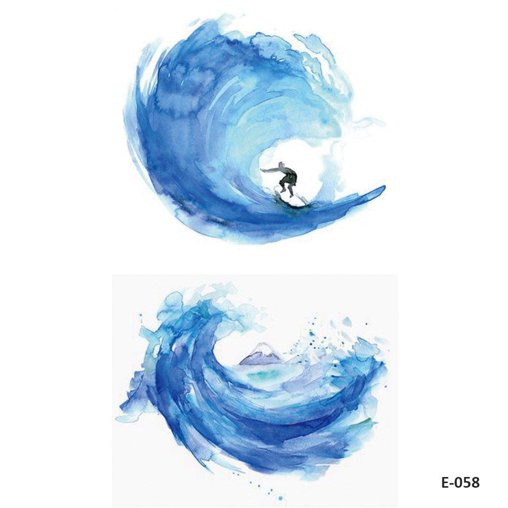 WYUEN 5 hojas Wave Surf temporal tatuajes falso tatuaje adhesivo ...
