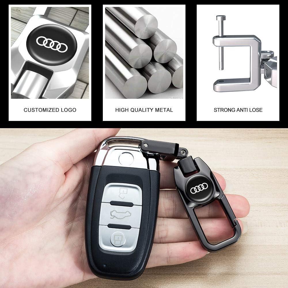 Car Key Case Genuine Leather Protector Keychain suit for Audi A4L A6L Q5 A5 A7 A8 S5 S7 Keyless Entry key fob cover case key holder