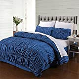 AMOR & AMORE 3 Pcs Ruffled Duvet Cover Set Navy Blue Shabby Chic Ruched Bedroom Decor (Queen Size)