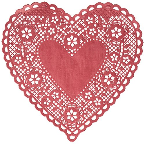 """Royal Lace Hygloss 12 Piece Paper Heart Doilies, 8"""", Red"""