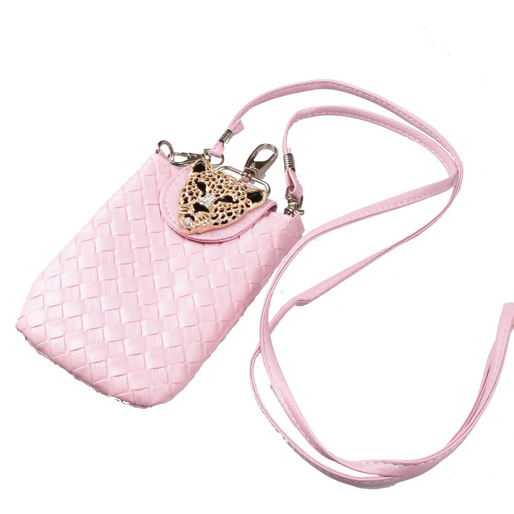 Pink Woven Cell Phone Pouch with Shoulder Strap