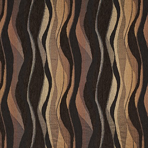 Ember Black and Brown Abstract Contemporary Chenille Upholstery Fabric by the ()