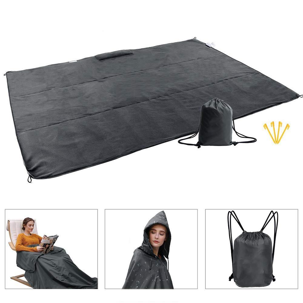HITECHLIFE La Manta Impermeable para Acampar al Aire Libre se Puede Usar como Impermeable para Playas y Mantas de c/ésped con Mantas Grandes