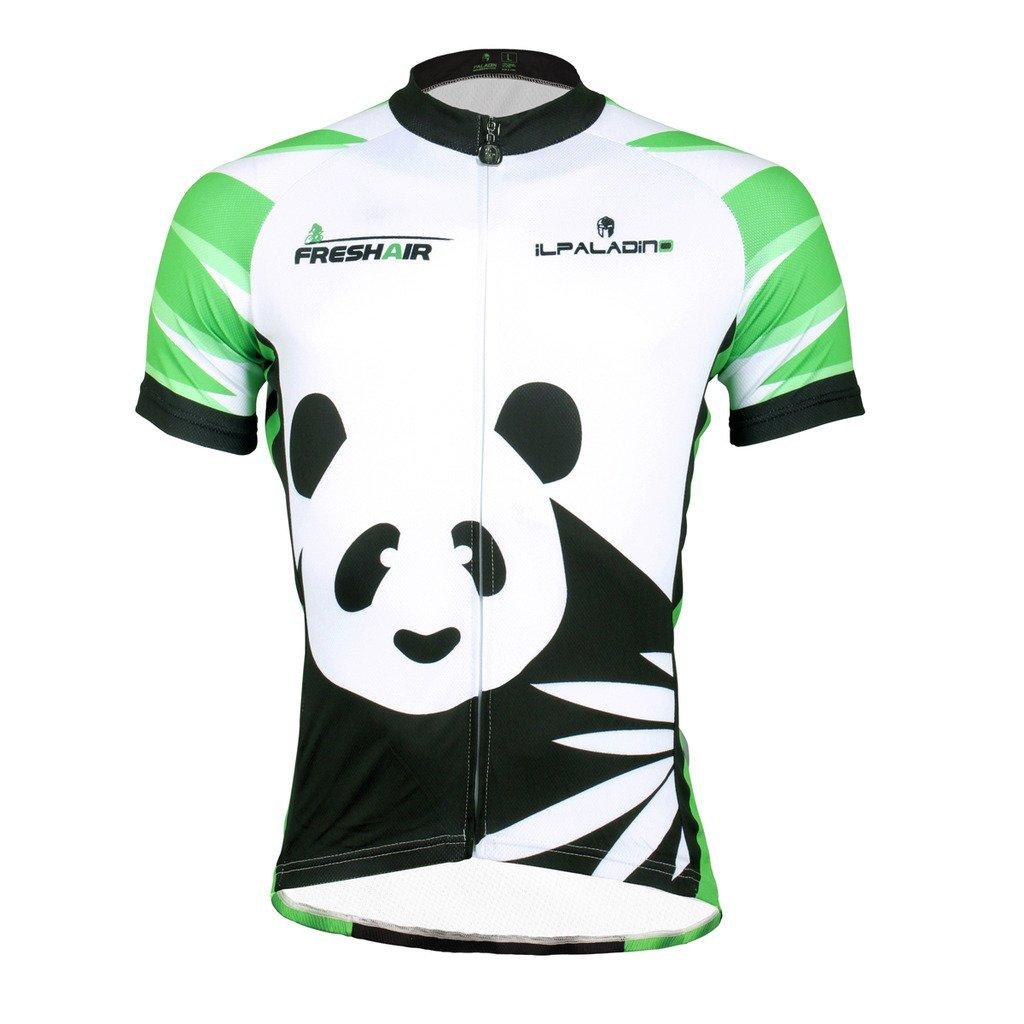 KMFEEL Cute Panda with Bamboo Invisible Zipper Women Short Sleeve Cycling Jersey KM-panda1ShortJersey-0