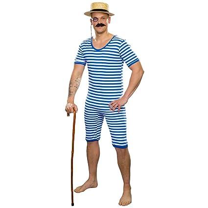 Traje de baño años 20 para Hombre / Azul-Blanco en Talla L ...