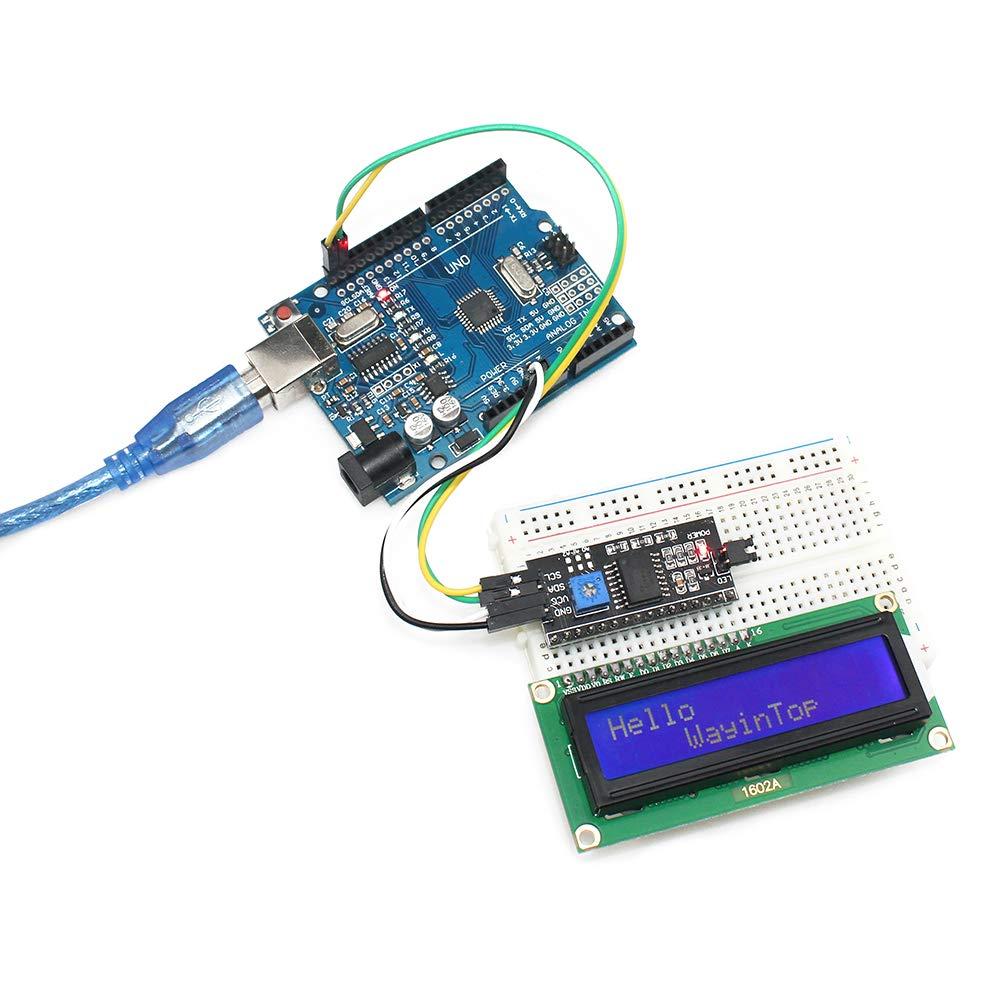 WayinTop 16x2 1602 LCD Module Daffichage R/étro/éclairage Bleu avec Adaptateur Dinterface S/érie IIC TWI pour Arduino Mega 2560 I2C Bleu//1602