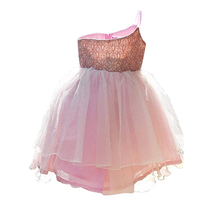 0cb8734581 PinkBlue India Designer Kids Party Dress Baby Girl Birthday Frock Pink White   Amazon.in  Clothing   Accessories