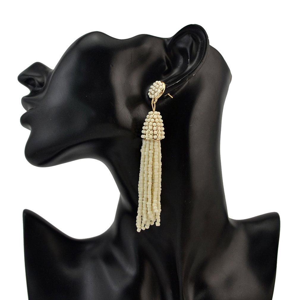 Jinxian Tassels Beads Drop Earrings Boho Fashion Dangling Studs