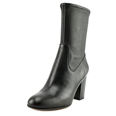 Bond Women Round Toe Leather Black Mid Calf Boot