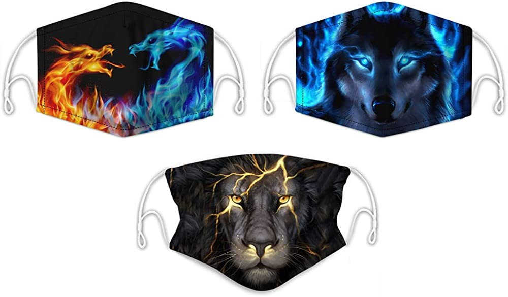 Loveternal 3 Pieces Women Men Multifunctional Half Face Covering Reusable 3D Print Breathable Dust Protective Cloth Face Bandana Washable Mouth Cover