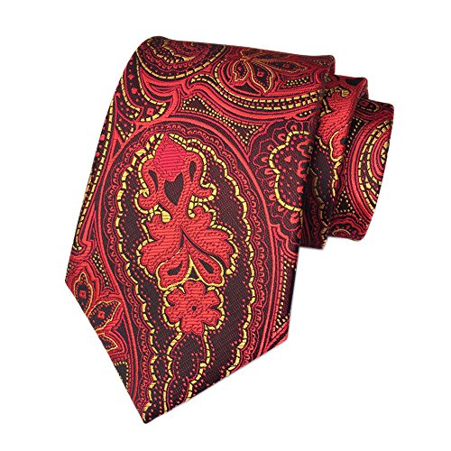 Secdtie Men's Red Gold Floral Jacquard Woven Silk Tie Formal Party Necktie YUE10 (Burgundy Dress Stripe Shirt Luxury)