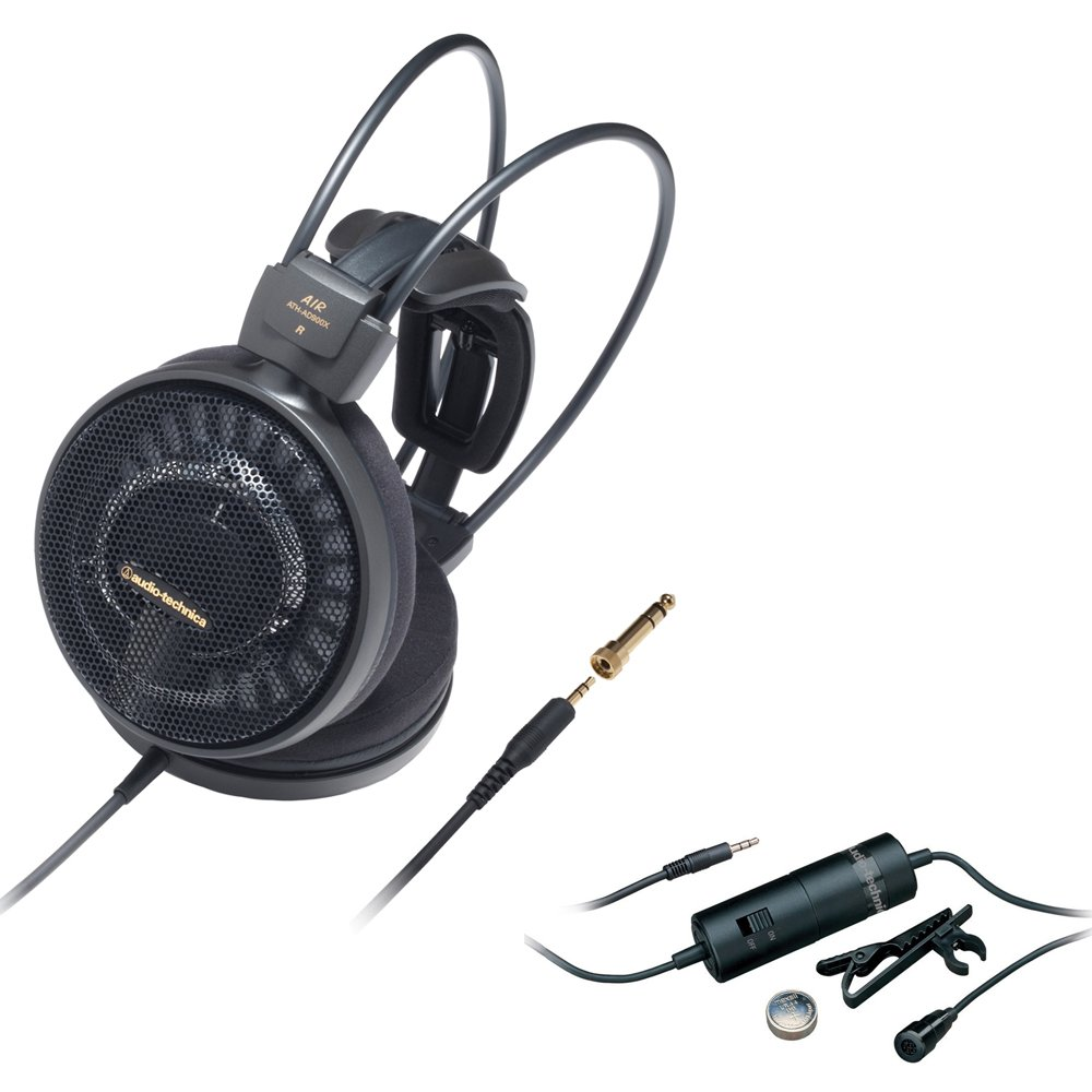 ATH-AD900X with Audio-Technica Omnidirectional Condenser Lavalier Microphone Audio-Technica Audiophile Open-Air Headphones Black