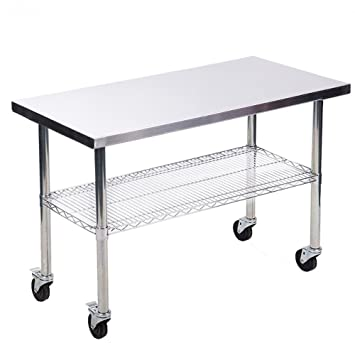 Amazoncom X Stainless Steel Kitchen Work Table W Wire Lower - Stainless steel kitchen work table cart