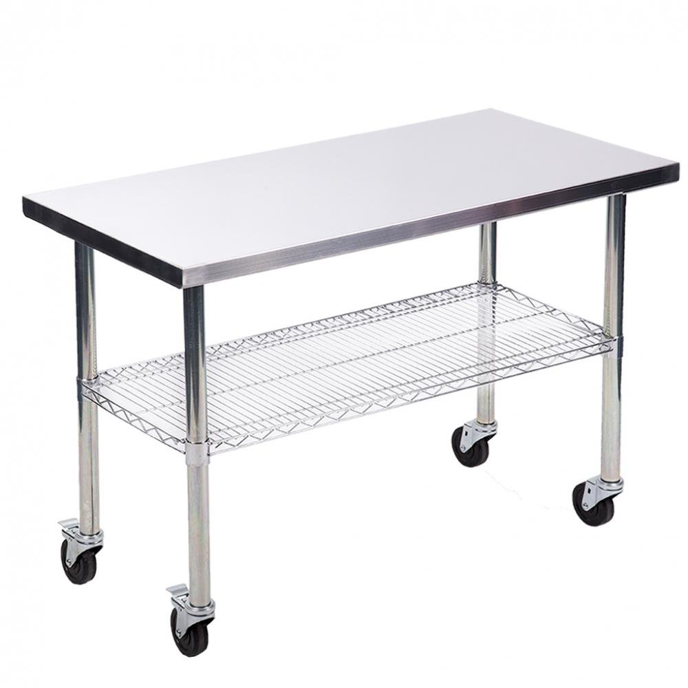 24''x48'' Stainless Steel Kitchen Work Table w/ Wire Lower Shelf and Wheels