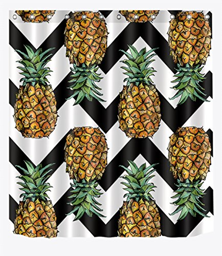 - LB Pineapple on Black White Chevron Pattern Decor Shower Curtain for Shower Stall, Modern Tropical Theme Print, Anti Mildew Water Repellent Bath Curtain, 70 x 70