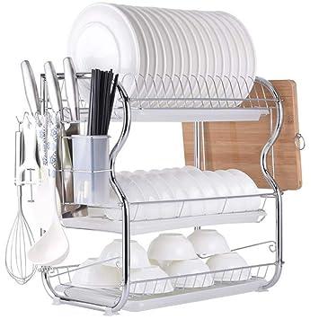 3-Tier Escurridor De Plato Acero Carbono Para Mueble De Cocina: Amazon.es: Hogar
