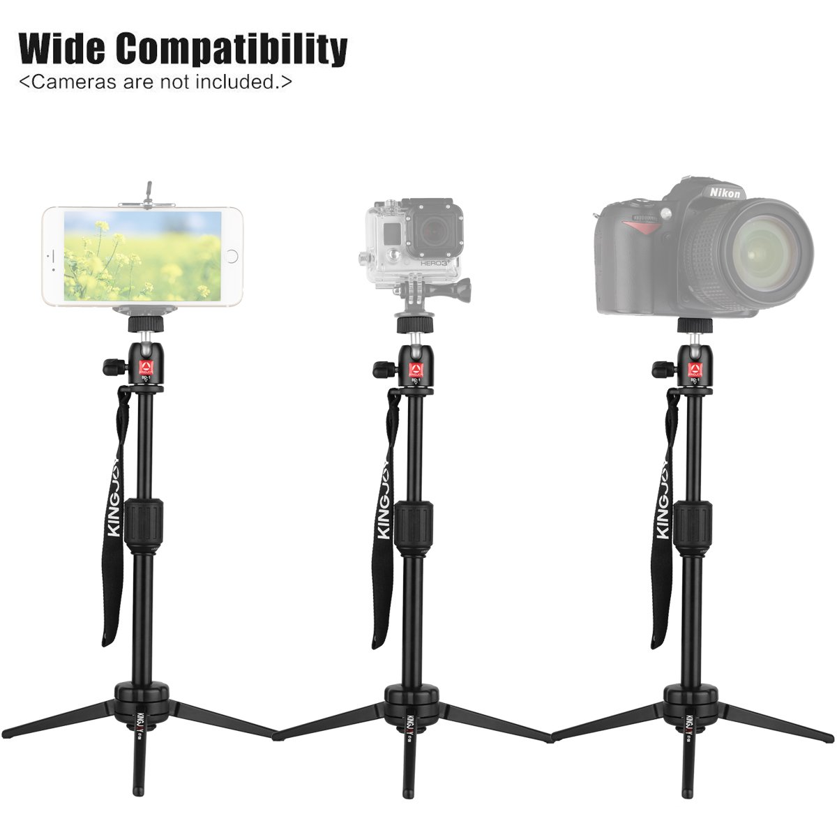 Kamisafe KINGJOY Portable Aluminum Alloy Mini Video Tabletop Tripod with Swivel Ball Head for GoPro Hero 4/3+/3, Smartphones, and Most DSLR Cameras with 1/4\