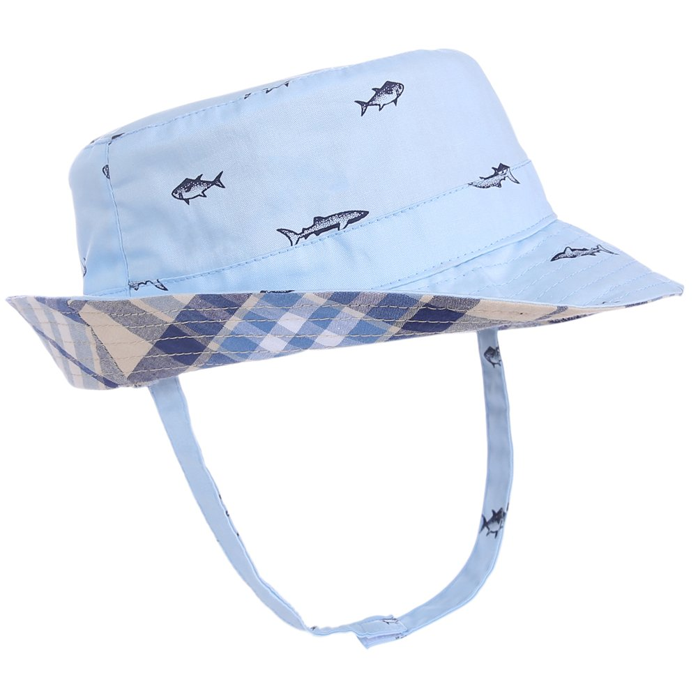 Kids Sun Hat Reversible -Double Sides Child Sun Protection Summer Beach Pool Bucket Hat with UPF 50+ (Blue Grid, 54cm)