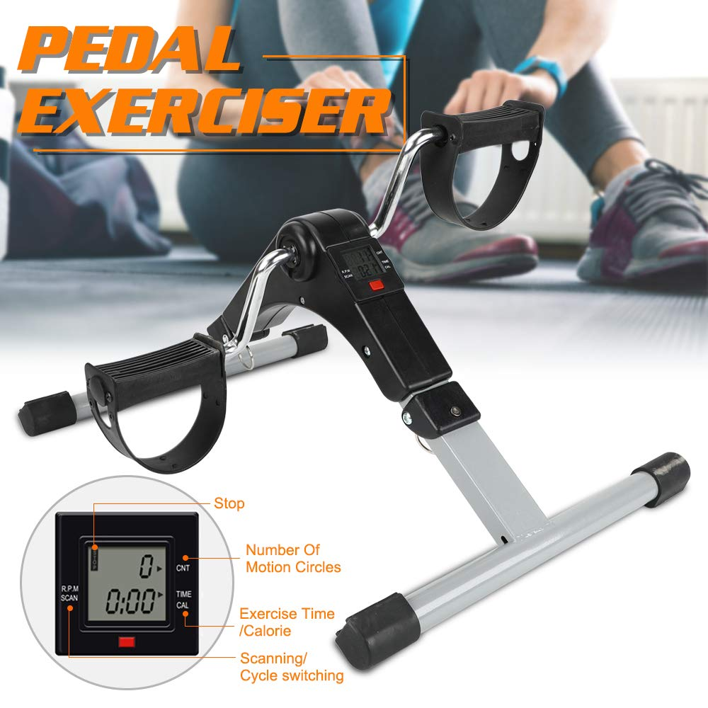 Triclicks Pedal Exerciser Foldable with Digital Display Mini Exercise Bike For Legs and Arms Cycling Portable Fitness For Exercise and Rehabilitation Training Suitable for Indoor and Outdoor