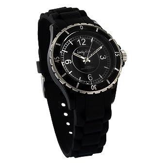 Schwarz Armbanduhr Armband Damen Lady Kunststoff Gehäuse Lili nOX8k0wP