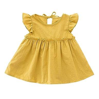 Vestidos niña   Niños pequeños Bebés Niñas Volantes Lino sólido ...