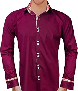 product image for Maroon with Orange and White Designer Dress Shirts - Made in USA