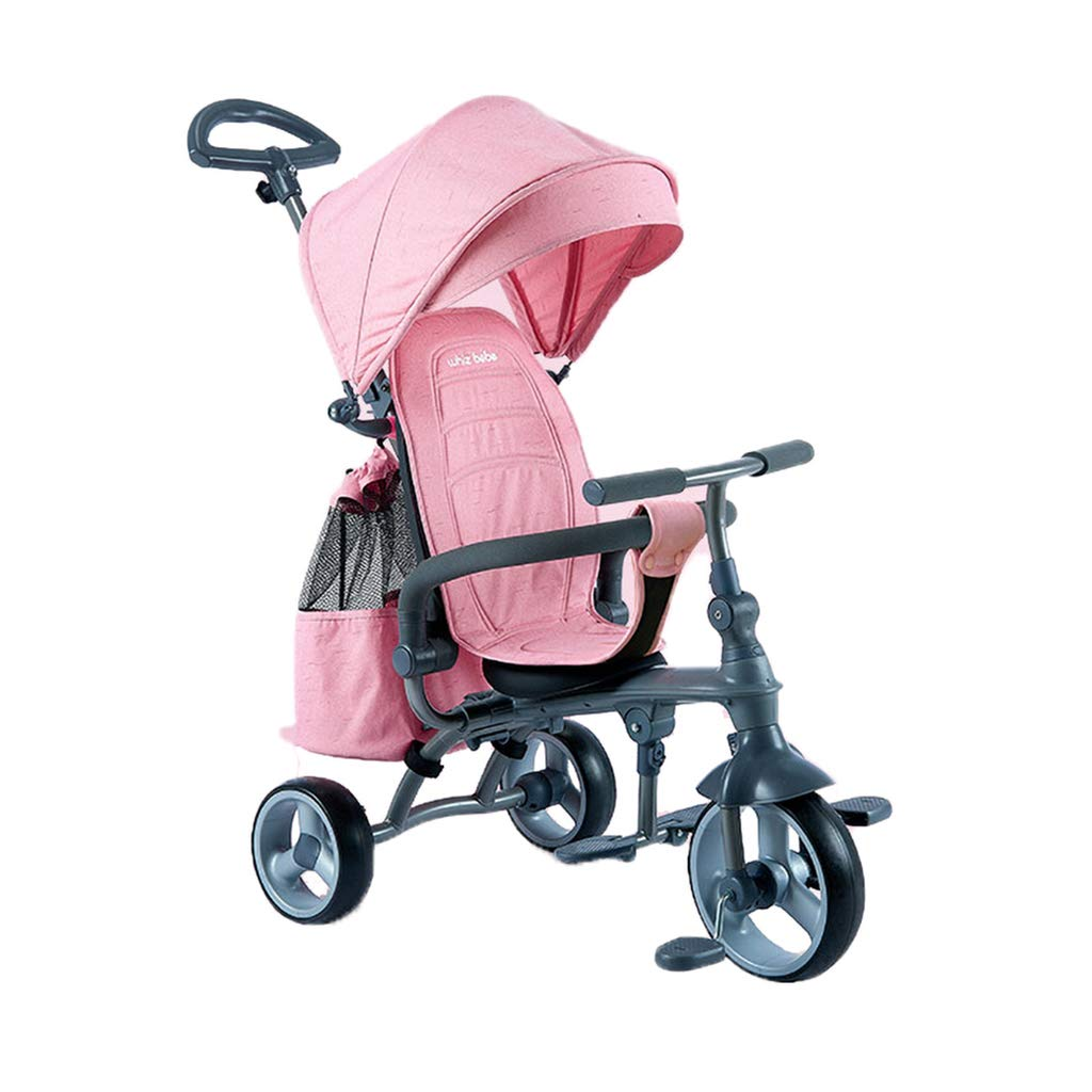 Baby Stroller,Portable Foldable Baby Carriage,with Removable Safety Fence Awning Guardrail Storage Bag Pram,Clutch Front Wheel and Rear Brake System Pushchair
