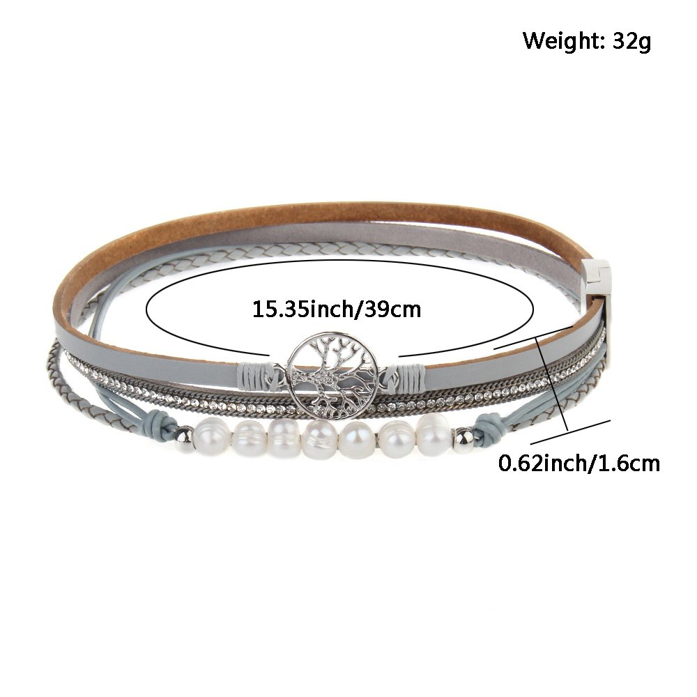 Jenia Tree of life Leather Bracelet Rope Wrap Pearl Cuff Wristband for Women with Gift Bags by Jenia (Image #4)
