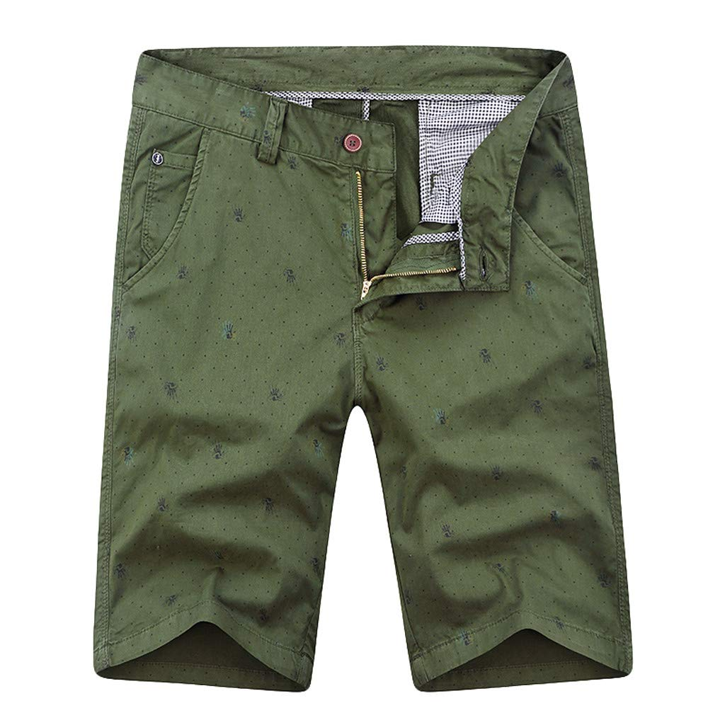 NUWFOR Mens New Summer Outdoors Casual Loose Pure Color Cotton Overalls Shorts Pants?Army Green,US XS Waist:28.1?