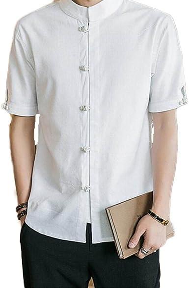 Camisa De Hombre Botón De Placa Camisa Retro Manga Corta Top Informal Suelto, White-XL: Amazon.es: Ropa y accesorios