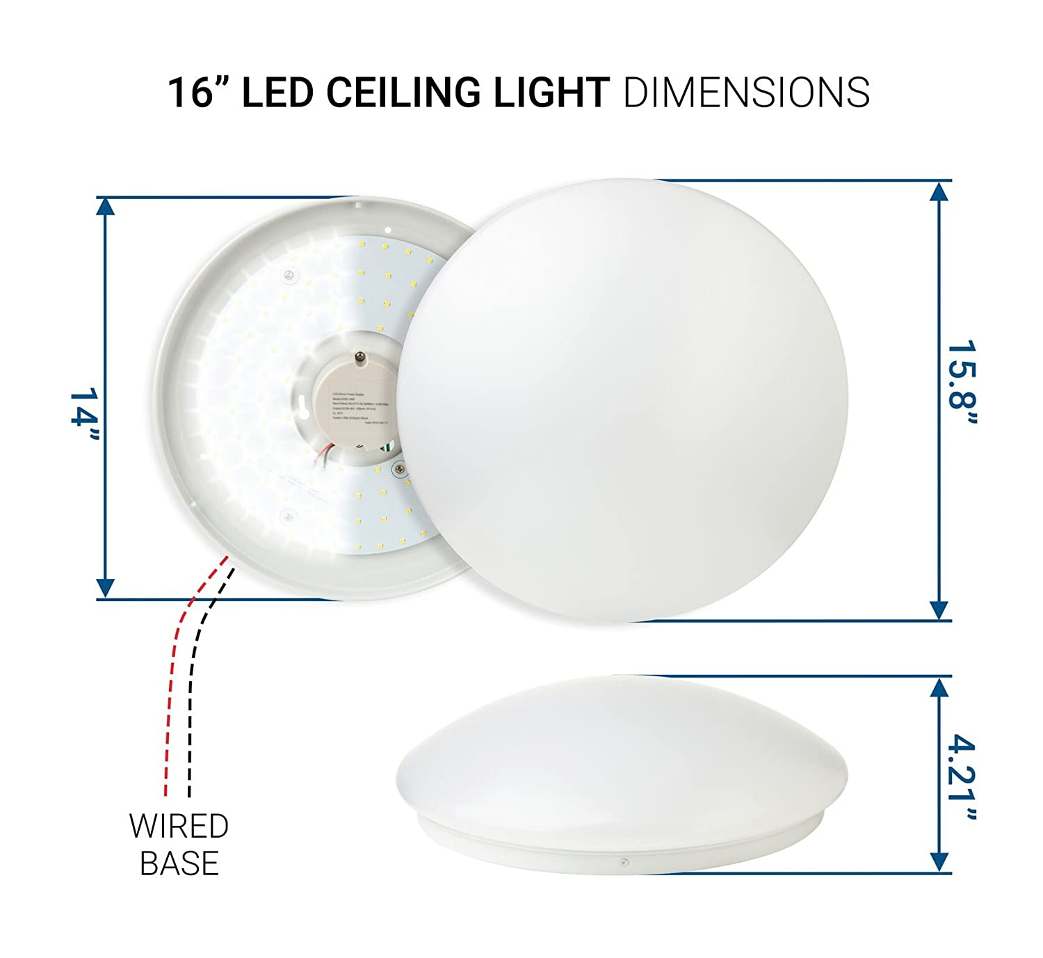 Hyperikon Led Flush Mount Ceiling Light 16 35w 150w Equivalent Pmi Wiring Diagram 3100lm 4000k Daylight Glow 120 Beam Angle 240v Ul Listed Inch