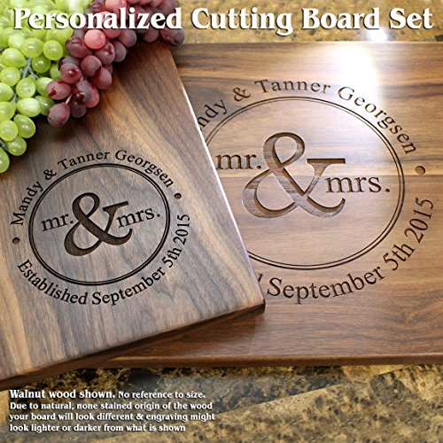 Mr & Mrs Round Design Personalized Engraved Cutting Board Set- Wedding Gift, Anniversary Gifts, Housewarming Gift,Birthday Gift, Corporate Gift, Award, Promotion. #016