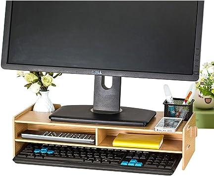 TourKing - Soporte para Monitor de Madera, para TV, PC, Ordenador portátil, Escritorio y Almacenamiento de 2 Niveles: Amazon.es: Electrónica