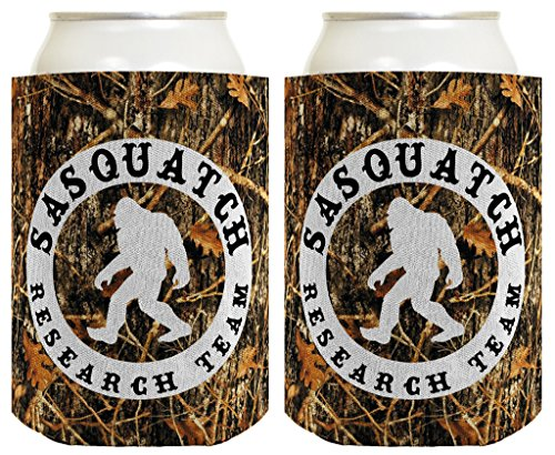 Funny Can Coolie Sasquatch Research Team Camping Gag Gift Outdoors Hiking Hunter Hunting 2 Pack Can Coolie Drink Coolers Coolies Woodland Camo by ThisWear