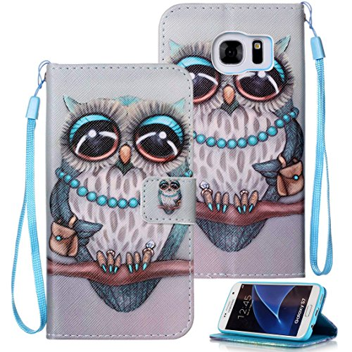 Galaxy S7 Case, S7 Case, Galaxy S7 Wallet Case, Etubby [Wallet Stand] PU Leather Wallet Flip Protective Skin Case with Card Slots and Wrist Strap for Samsung Galaxy S7 (2016) - Owl