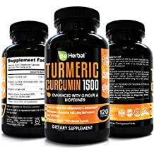 BE Herbal Premium Organic Turmeric Curcumin with Bioperine 1500mg - The Most Potent Turmeric Curcumin Supplement with 95% Standardized Curcuminoids - Enhanced with Ginger Extract - 120 Veg Capsules