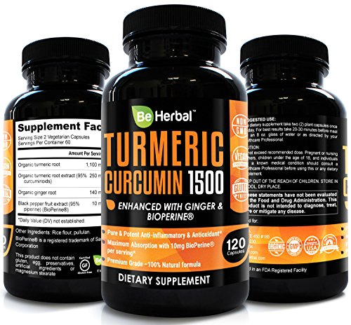 BE HERBAL Premium Organic Turmeric Curcumin with Bioperine 1500mg – The Most Potent Turmeric Curcumin Supplement with 95% Standardized Curcuminoids – Enhanced with Ginger Extract – 120 Veg Capsules