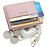 Cyanb Slim Leather Credit Card Case Holder Front Pocket Wallet Change Purse for Women Girls with keychain Pink