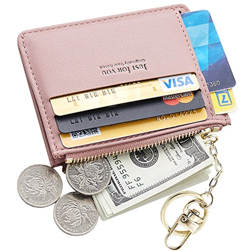 Bag Keychain Case (Cyanb Slim Leather Credit Card Case Holder Front Pocket Wallet Change Purse for Women Girls with keychain Pink)